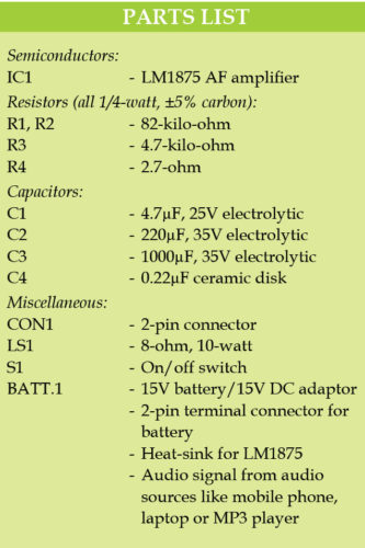 10-Watt Audio Amplifier using LM1875 Schematic Circuit Diagram 5