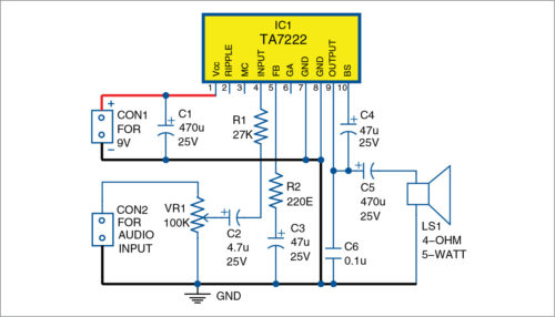 5-Watt Audio Amplifier Using TA7222  Schematic Circuit Diagram