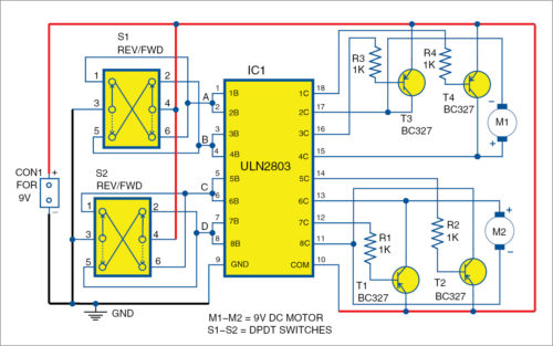 Bi-Directional Motor Driver Using ULN2803 Schematic Circuit Diagram