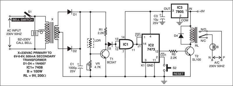 Doorbell with Security Feature Schematic Circuit Diagram