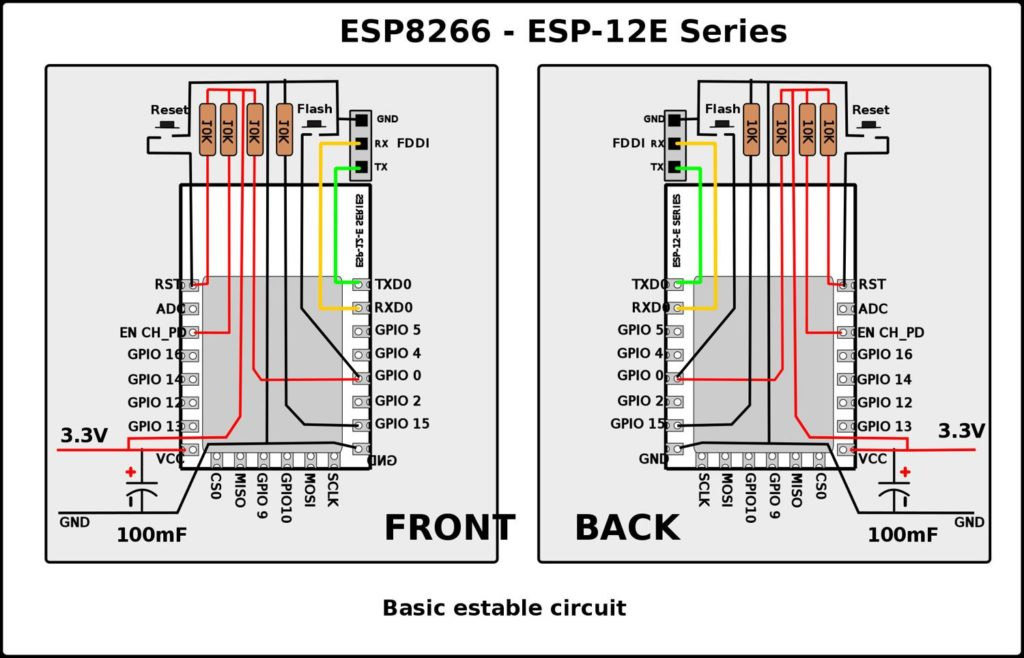 ESP8266 12e Pinout Schematic Circuit Diagram