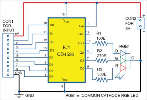 Multi-Status Indicator Using Single RGB LED Schematic Circuit Diagram