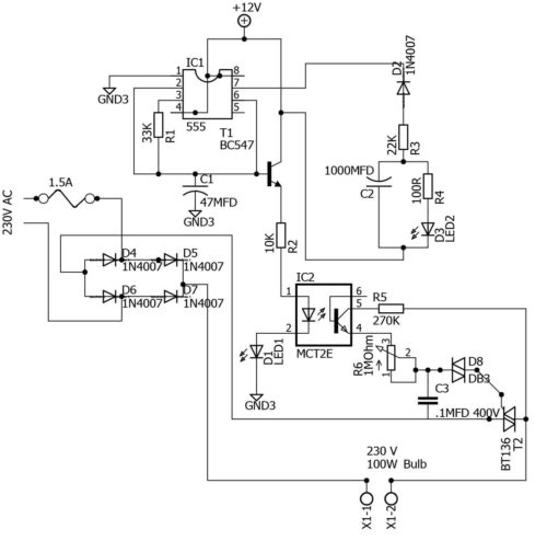How to Construct a Gradual ON and OFF Bulb Schematic Circuit Diagram..