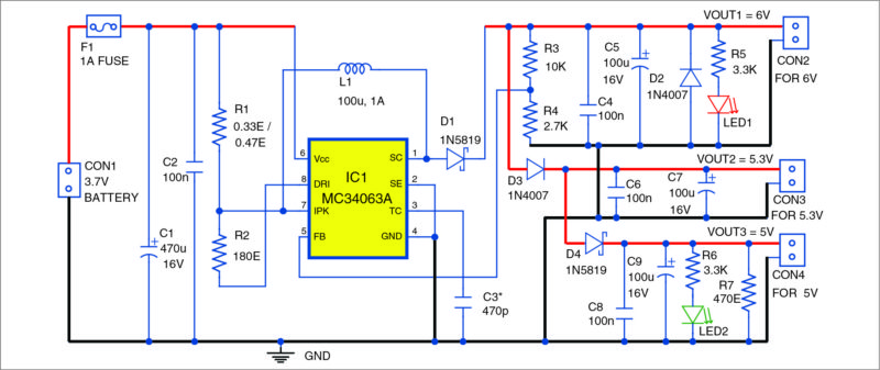 Low-cost 3.7V to 5V-6V DC-to-DC converter Schematic Circuit Diagram 2