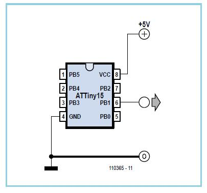MHz Oscillator using an ATtiny15 Schematic Circuit Diagram