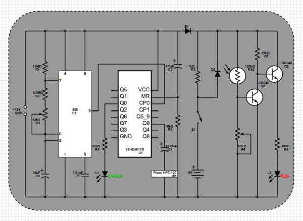 Power-on Reminder with LED Lamp Schematic Circuit Diagram