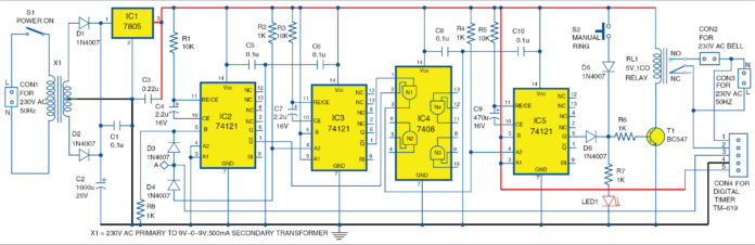 Programmable Automatic Bell System Schematic Circuit Diagram