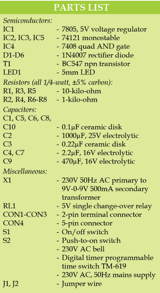 Programmable Automatic Bell System Schematic Circuit Diagram Parts List