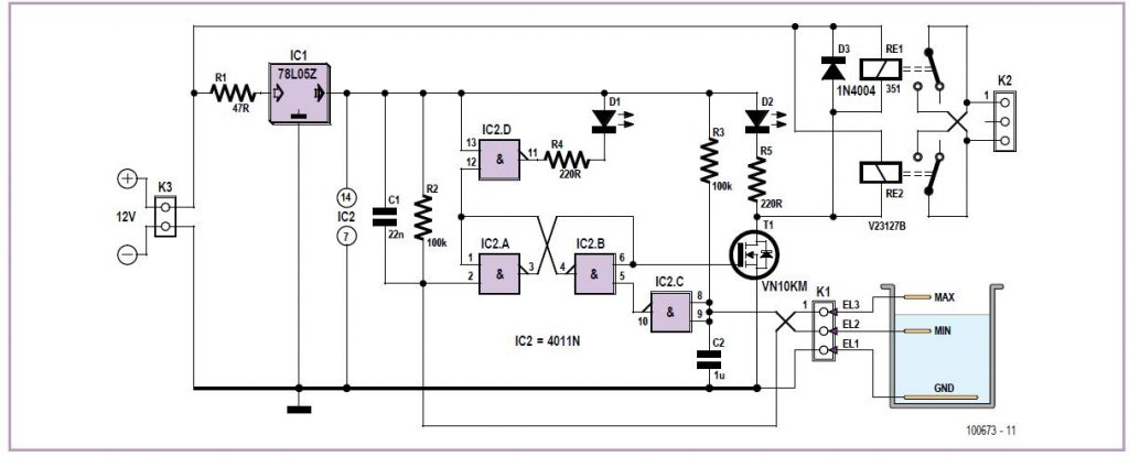 Pump Controller with Liquid Level Detection Schematic Circuit Diagram