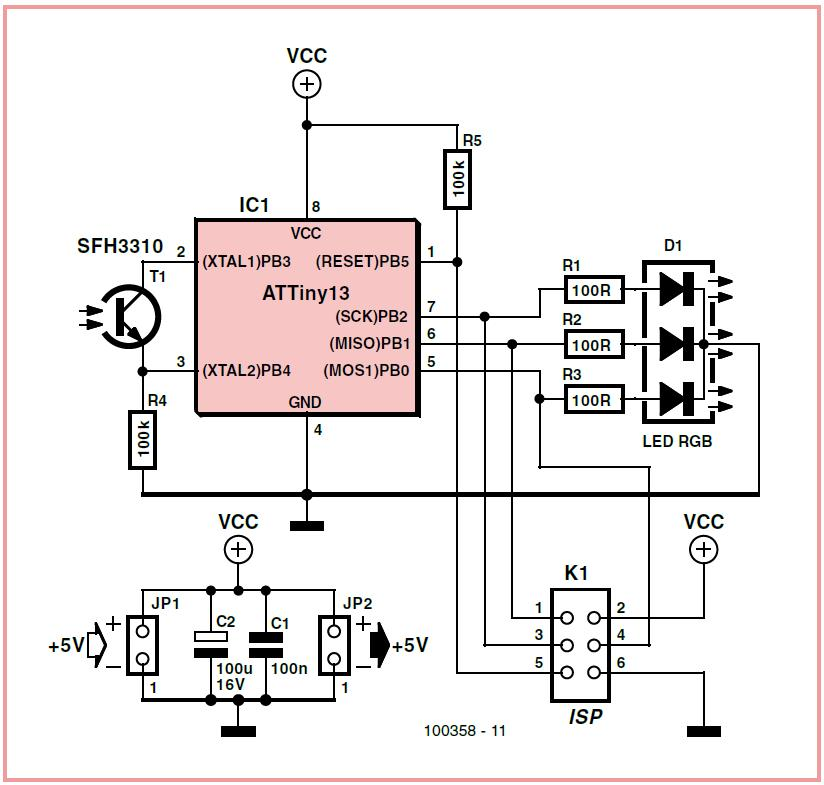 RGB Synchronizing Fireflies Schematic Circuit Diagram