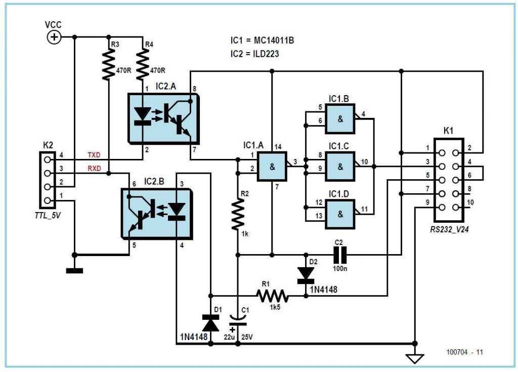RS-232 Level Shifter with Isolation Schematic Circuit Diagram