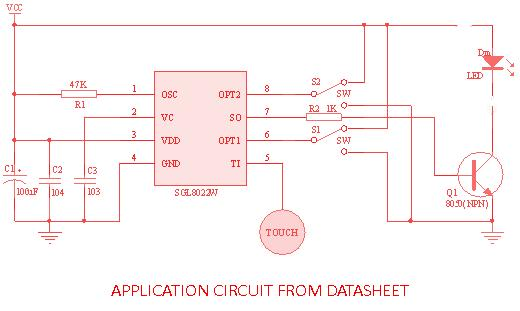 SGL8022W Touch LED PWM Module Schematic Circuit Diagram 4