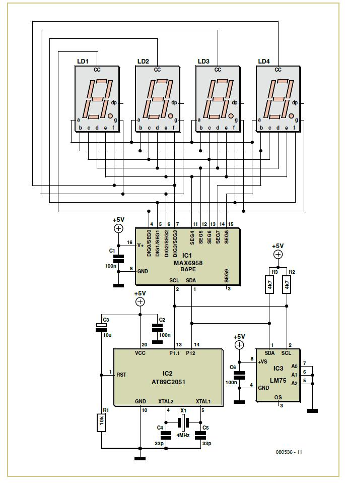 Thermometer with Four-Digit LED Display Schematic Circuit Diagram