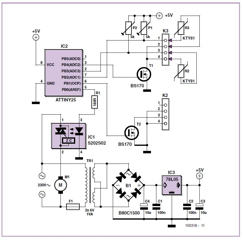 Underfloor Heating Controller Schematic Circuit Diagram
