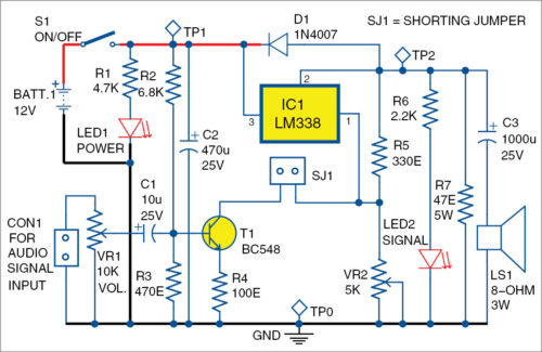 Voltage Regulator as Audio Amplifier Schematic Circuit Diagram