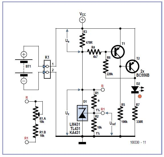 Flat Battery Indicator Schematic Circuit Diagram