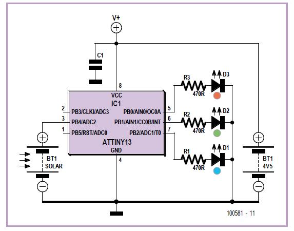 RGB Solar Lamp Schematic Circuit Diagram