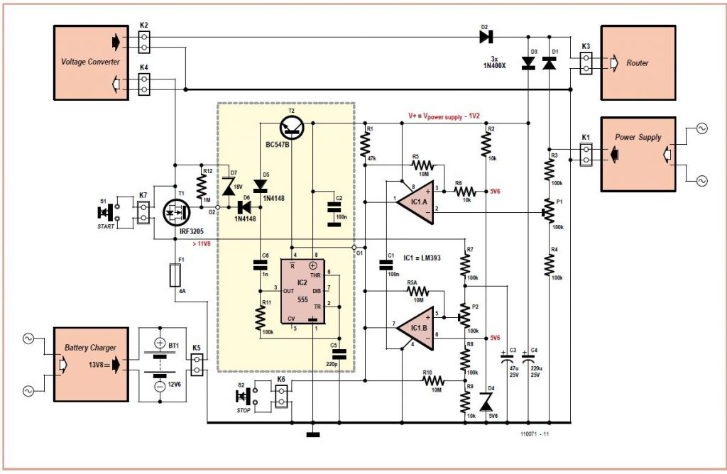 Router UPS Schematic Circuit Diagram