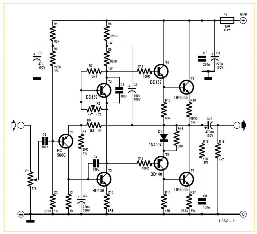 Sixties-style 40 W Audio Amplifier Schematic Circuit Diagram