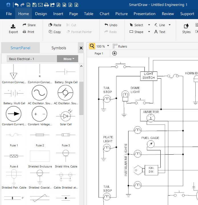 SmartDraw Free Electrical Schematic Diagram SoftwareElectronics and Schematic Circuit Diagrams