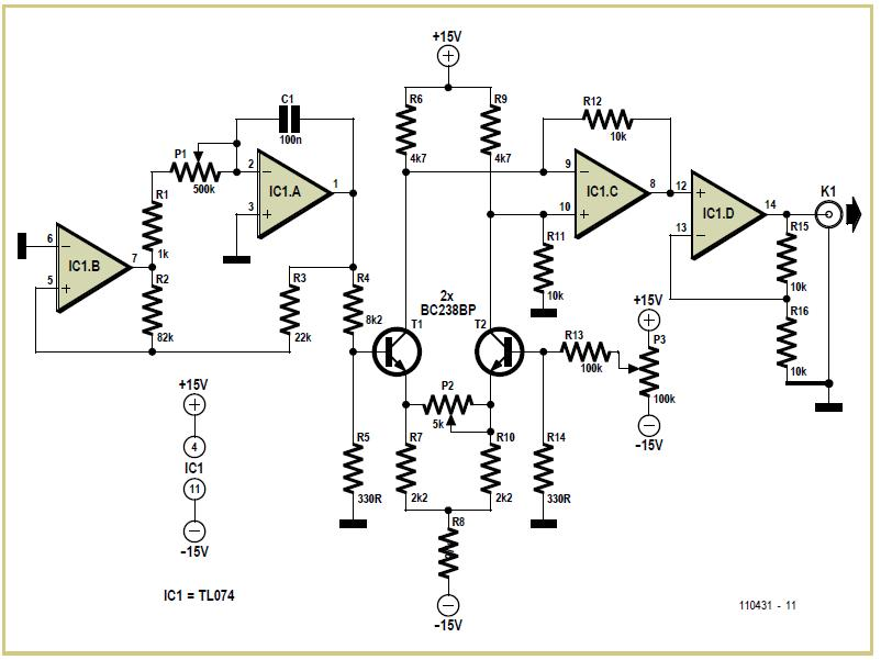 Triangular Wave Oscillator with Sine Wave Converter Schematic Circuit Diagram