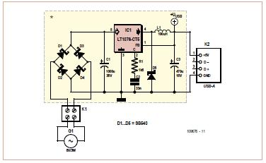 USB Charger using Pedal Power Schematic Circuit Diagram