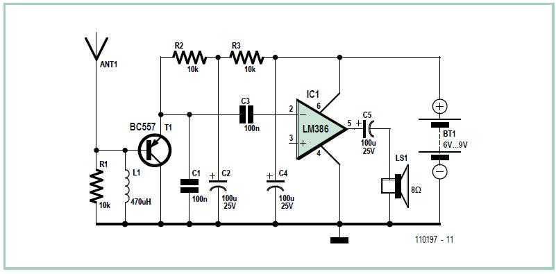 Wideband Receiver for Spark Transmissions Schematic Circuit Diagram