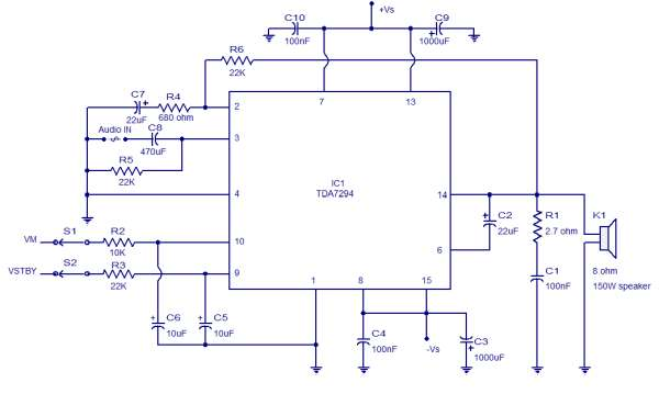 100W Audio Amplifier TDA7294 Schematic Circuit Diagram