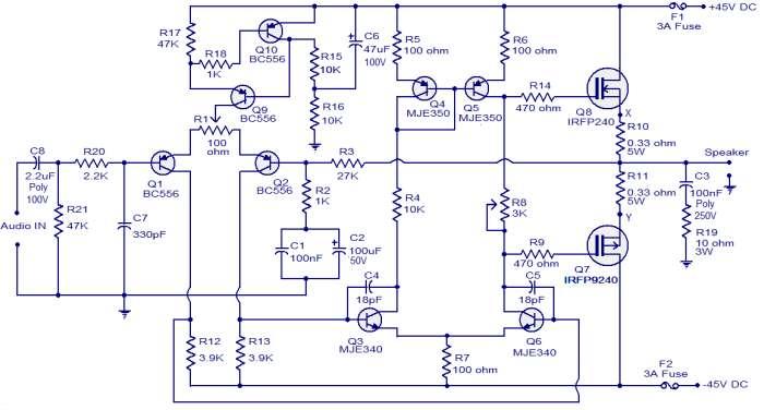 100W MOSFET power amplifier schematic circuit diagram 1