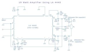 19 Watts Simple Amplifier Schematic Circuit Diagram