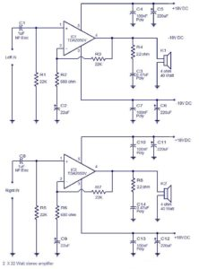 2 x 32 Watts stereo amplifier schematic circuit diagram