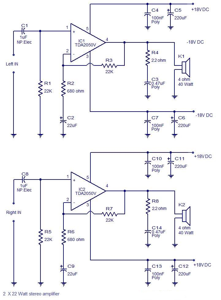 Photo of 2 x 32 Watts stereo amplifier schematic circuit diagram