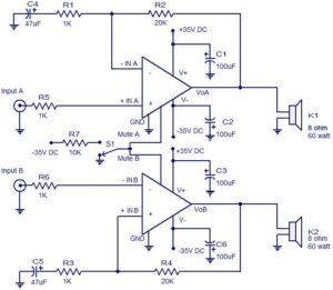 2 x 60 W audio amplifier schematic circuit diagram