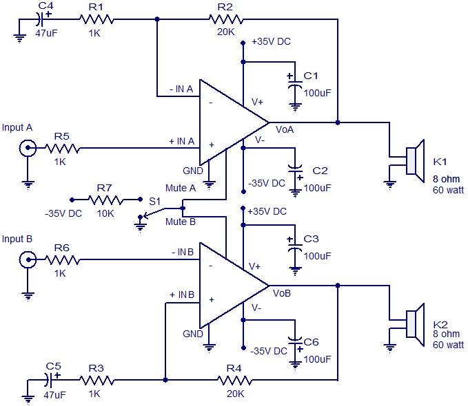 2 x 60 W audio amplifier schematic circuit diagram