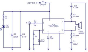 20W audio amplifier using TDA7240 Schematic Circuit Diagram