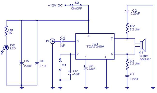 20W audio amplifier using TDA7240 Schematic Circuit Diagram