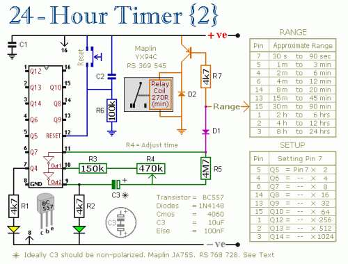 24 Hour Timer Schematic Circuit Diagram 2
