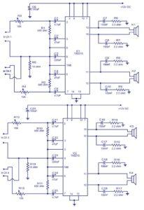 4 X 15 Watt power amplifier schematic circuit diagram