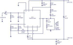 40W amplifier using TDA1514 Schematic circuit diagram