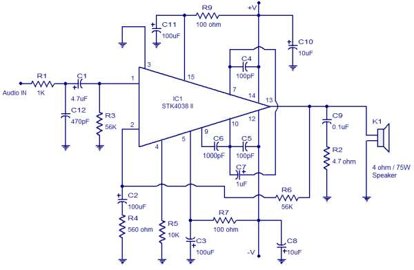 60 watt amplifier STK4038 schematic circuit diagram