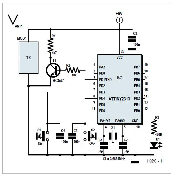 ATtiny Goes Wireless Schematic Circuit Diagram