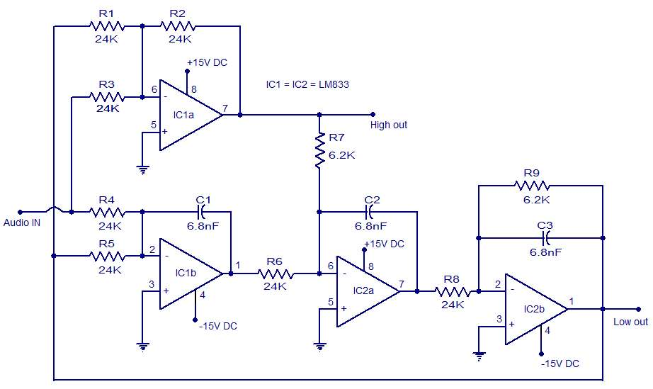 Photo of Active Crossover Schematic Circuit Diagram