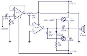 Audio Amplifier Circuit – 15 Watts Schematic Circuit Diagram