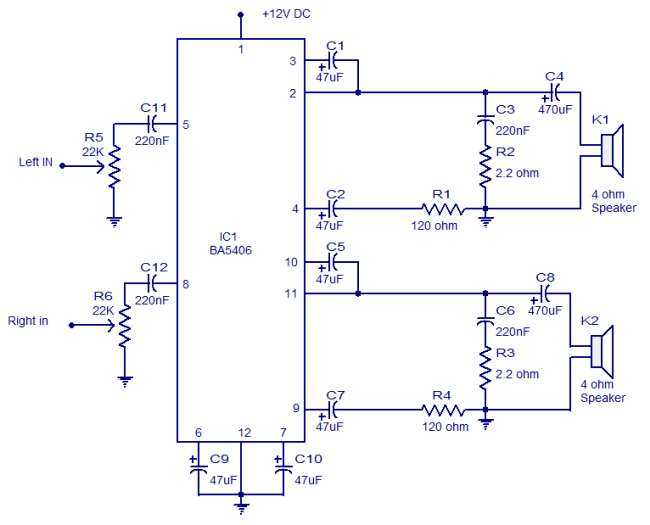 BA5406 stereo amplifier schematic circuit diagram