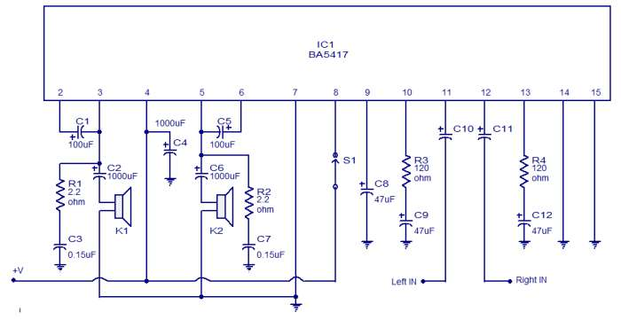 BA5417 stereo power amplifier schematic circuit diagram