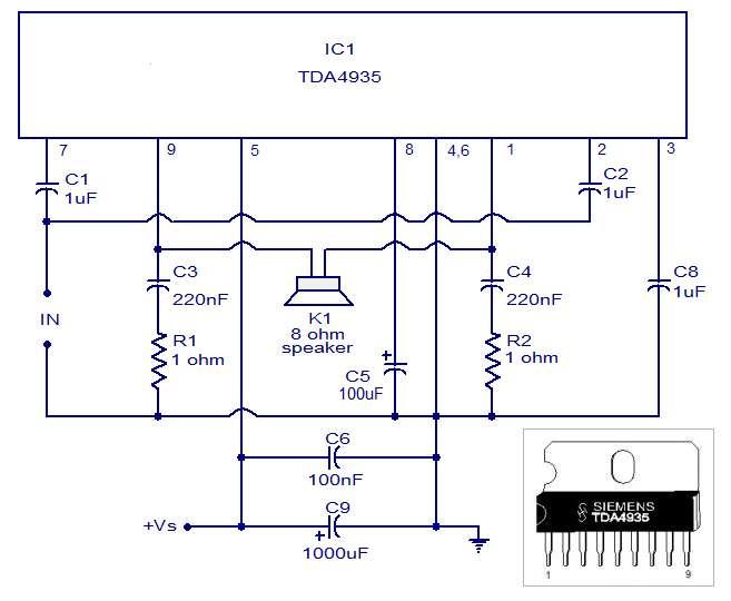 Bridge Amplifier Schematic Circuit Diagram