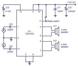 Car Stereo Amplifier Schematic Circuit Diagram