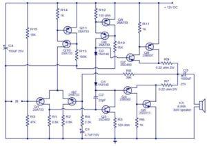 Class AB Audio Power Amplifier Schematic Circuit Diagram