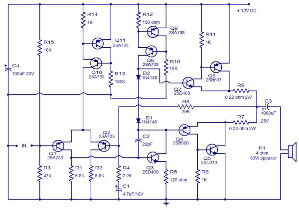Class AB Audio Power Amplifier Schematic Circuit Diagram