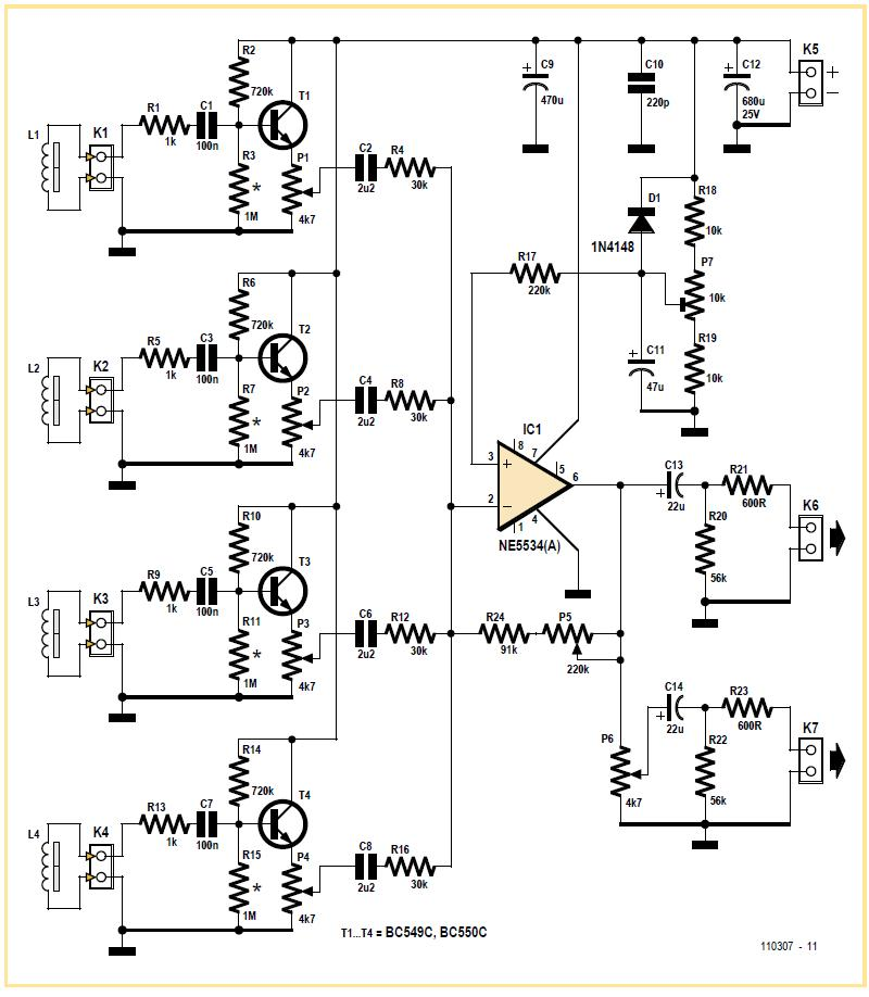 Electric Guitar Preamp, Mixer and Line Driver Schematic Circuit Diagram